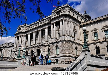 Washington DC - April 9 2014: The Jefferson Building a beaux arts masterpiece houses the Library of Congress *