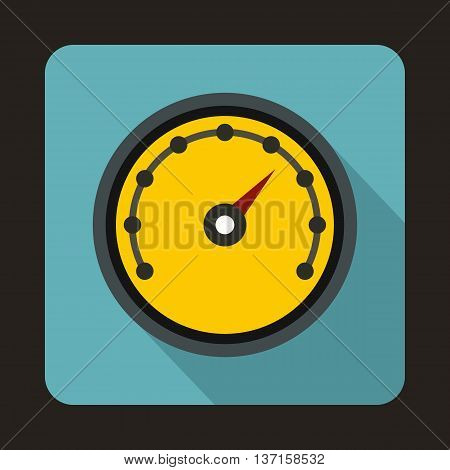 Speedometer with dot notation icon in flat style with long shadow. Auto spare parts symbol