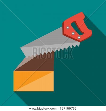 Saw cuts log icon in flat style with long shadow. Tools symbol