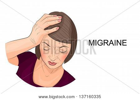 illustration of a woman suffering from migraine