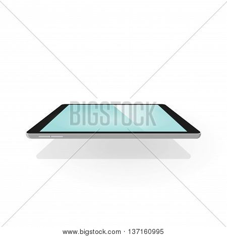 Tablet 3d vector illustration isolated on white background, electronic touchscreen device with empty screen in three dimensional style