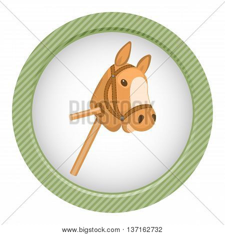 Horse toy colorful icon. Vector illustration in cartoon style