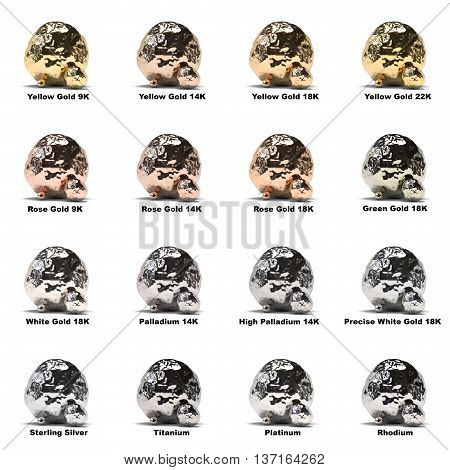 Jewelry metal samples on white background 3d rendering