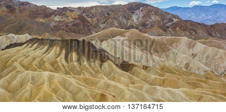 Colorful mountains of Zabriskie point in Death Valley National Park USA