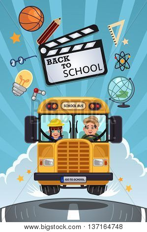 A vector illustration of back to school poster with copyspce