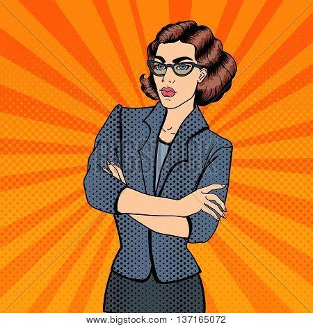 Confident Young Businesswoman. Pop Art. Vector illustration
