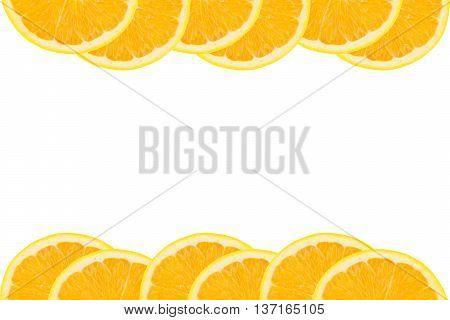 Slices of fresh Navel orange fruit isolated on white background