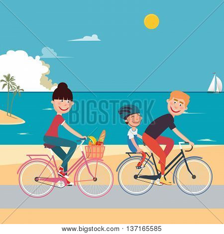 Happy Family Riding Bikes on the Beach. Woman on Bicycle. Father and Son. Vector illustration