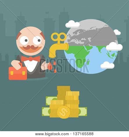 Vector illustration businessman villain killing the planet and nature