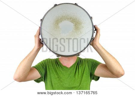 Man holding a snare drum over his head