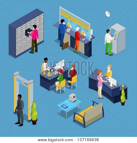 Bank Services Concept. Bank Interior with Clients and Bankers. Isometric People. Vector illustration
