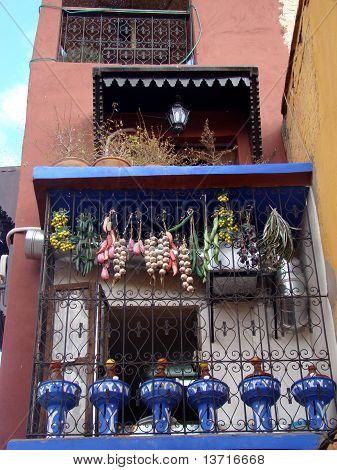 Moroccan Building with Decorative Balcony