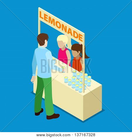 Two Girls in Outdoor Homemade Lemonade Stand. Isometric People. Vector illustration