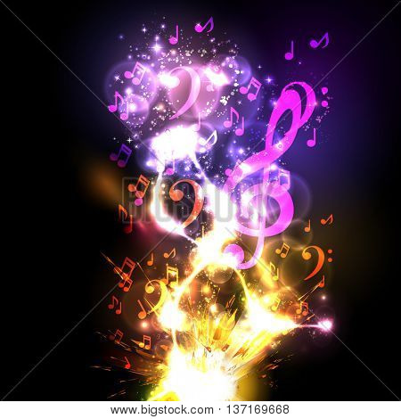 Music explode background with note easy all editable