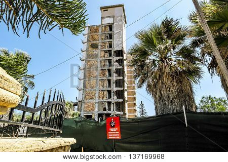 May 24 2016.Famagusta.Abandoned hotels in the abandoned Ghost city Varosha in Famagusta .Northern Cyprus.