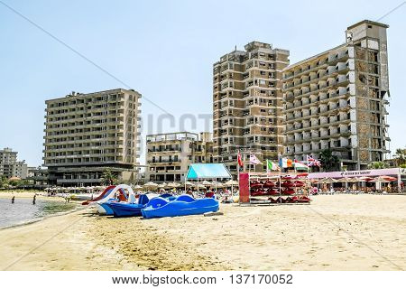 May 24 2016.Famagusta.Abandoned hotels and the beach at Varosha in Famagusta .Northern Cyprus.
