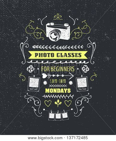 Vector photography classes, educational studio poster, banner, design template in vintage style with curls, hand drawn camera and photos
