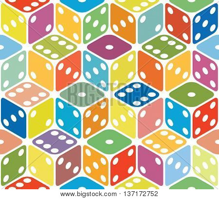 Vector multicolored dice seamless background