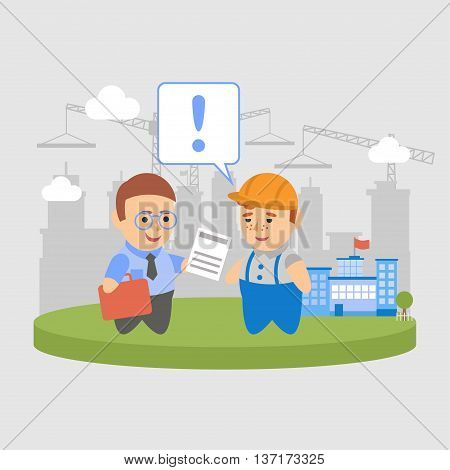 Vector clipart businessman signed a contract with the builder