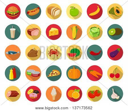 Set of icons with food and drinks for restaurant or commercial. Fruits and Vegetables icons. Fast food icons. Modern flat design with long shadow. Vetor illustration