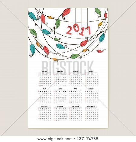Calendar grid for 2017 . A vector.
