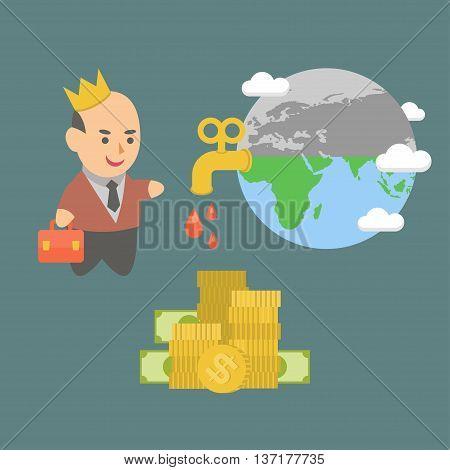 ector illustration businessman villain killing the planet and nature
