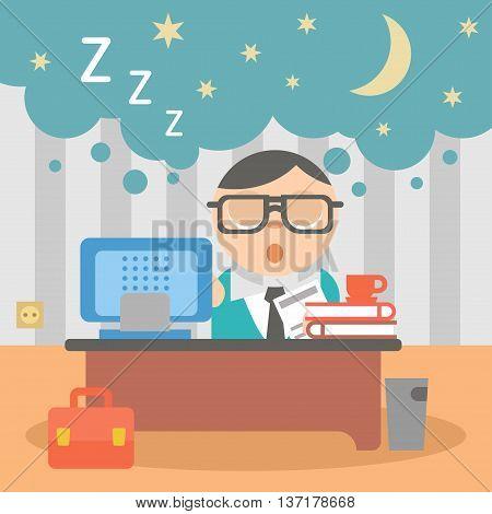 Vector illustration sleeping businessman workaholic at work