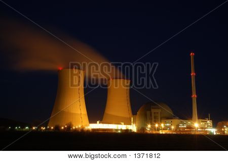 Atomic Power Plant In The Night