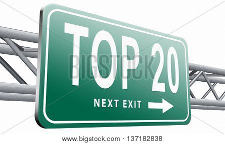 top 20 charts list pop poll result and award winners chart ranking music hits best top twenty quality rating prize winner sign , 3D illustration on white background