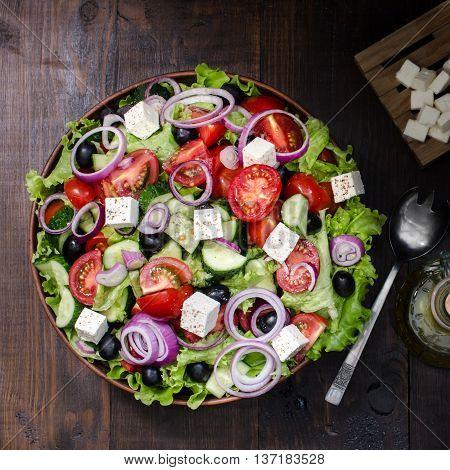 Fresh Greek salad in bowl still life