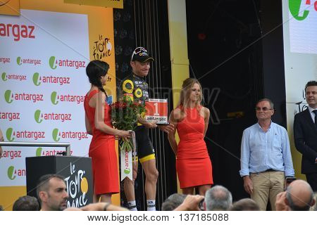 Tour de France 2016 - Stage 3 - Granville to Angers - 4th July 2016.   Winners Podium