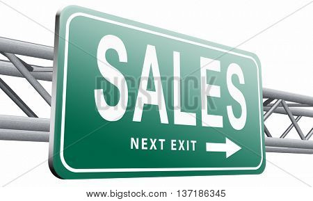 sales online shopping concept with discount web shop bargain cheap order at webshop sale road sign billboard, 3D illustration, isolated on white background