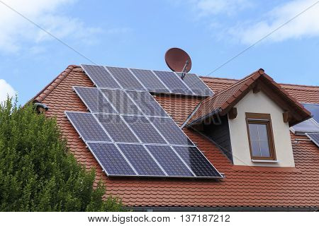 A house roof with a photovoltaic system