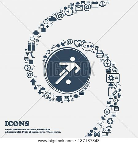 Football Player Icon In The Center. Around The Many Beautiful Symbols Twisted In A Spiral. You Can U