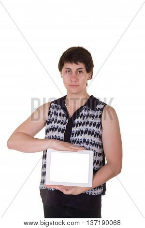 A woman holding a tablet isolated on white