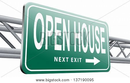 open house for sale or rent, buying or selling real estate,isolated, on white background.3D illustration