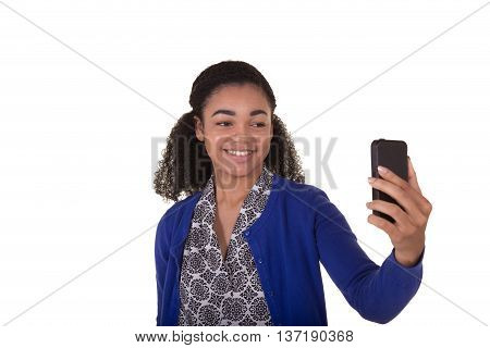 A young woman using her cell phone
