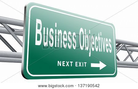 Business Objectives firm statement on vision, mission, values and strategies and strategy planning of a company or business,isolated, on white background.3D illustration