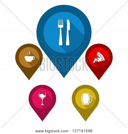 This is set vector map pointers/ blue pin restaurant / brown pin cafe / purple pin wine /yellow pin beer