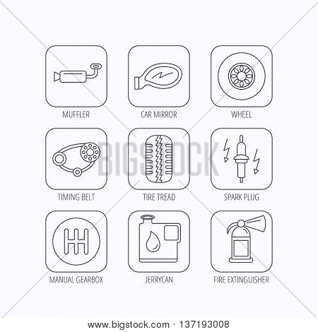 Wheel, car mirror and timing belt icons. Fire extinguisher, jerrycan and manual gearbox linear signs. Muffler, spark plug icons. Flat linear icons in squares on white background. Vector
