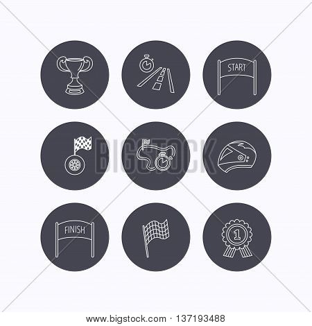 Winner cup and award icons. Race flag, motorcycle helmet and timer linear signs. Road travel, finish and start flat line icons. Flat icons in circle buttons on white background. Vector