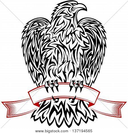 Eagle looking to the left and holding the red ribbon; Eps8