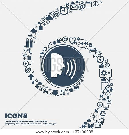 Talking Flat Modern Web Icon In The Center. Around The Many Beautiful Symbols Twisted In A Spiral. Y