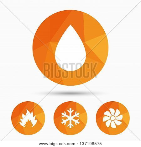 HVAC icons. Heating, ventilating and air conditioning symbols. Water supply. Climate control technology signs. Triangular low poly buttons with shadow. Vector