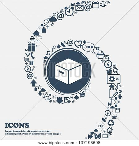 Packaging Cardboard Box Icon In The Center. Around The Many Beautiful Symbols Twisted In A Spiral. Y