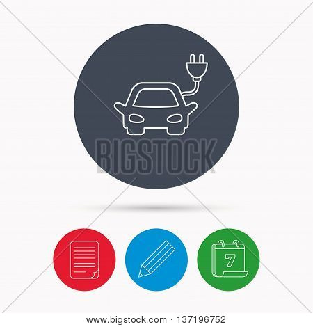 Electric car icon. Hybrid auto transport sign. Calendar, pencil or edit and document file signs. Vector