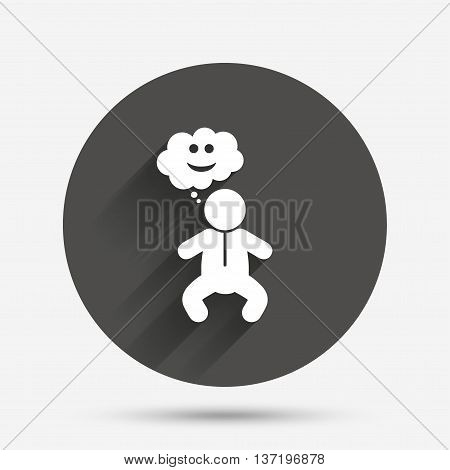 Baby infant happy think sign icon. Toddler boy in pajamas or crawlers body symbol. Circle flat button with shadow. Vector