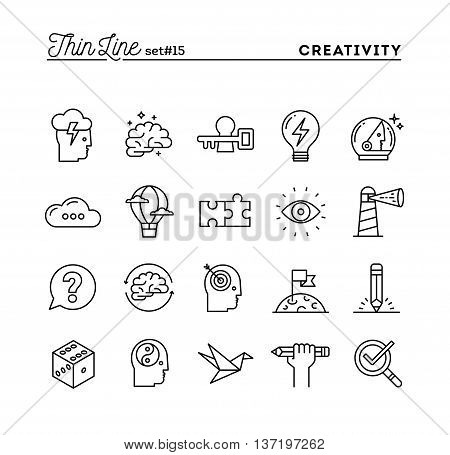 Creativity imagination problem solving mind power and more thin line icons set vector illustration