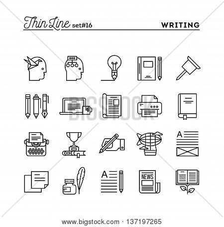 Writing blogging best seller book storytelling and more thin line icons set vector illustration