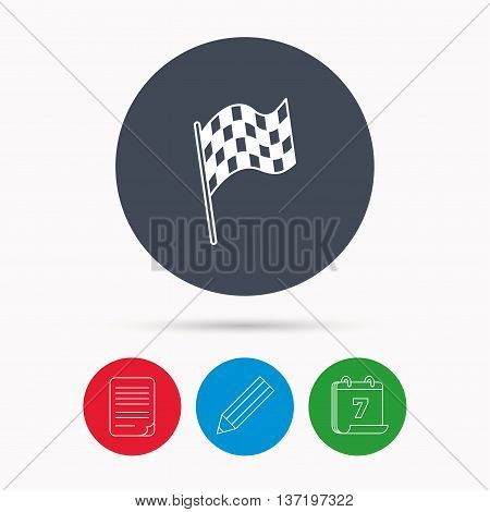 Finish flag icon. Start race sign. Calendar, pencil or edit and document file signs. Vector poster